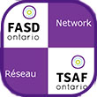 "Small checkered icon with the FASD Ontario logo and the word ""Network"", checkered on white / purple background"