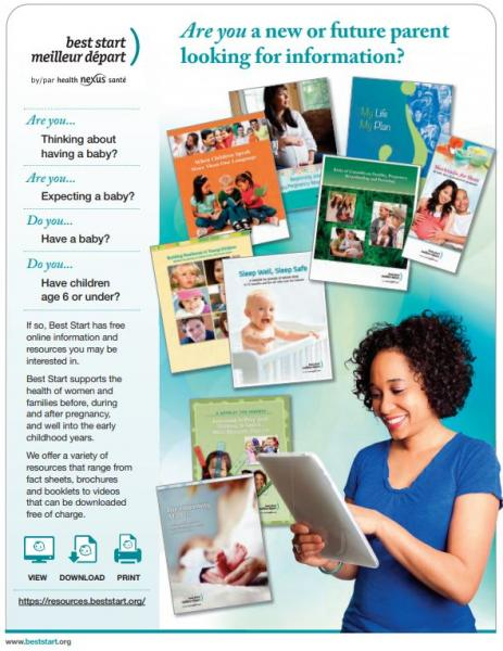 English Page of the Best Start flyer for parents